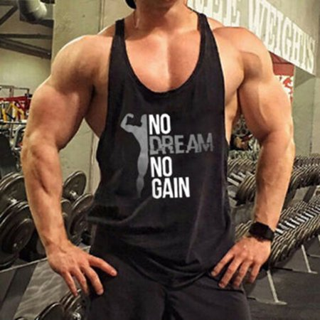 Gym Mens Muscle Sleeveless Tank Top Tee Shirt Bodybuilding Sport Fitness  Vest Black Size XL