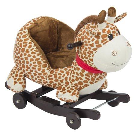 best choice products kids giraffe animal rocker w wheels children