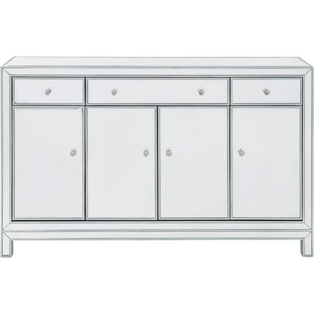 Elegant Decor MF72001 Buffet Cabinet 3 Drawers 4 Doors, Antique Silver Paint - 56 x 13 x 36 (Best Paint For Wood Cabinets)