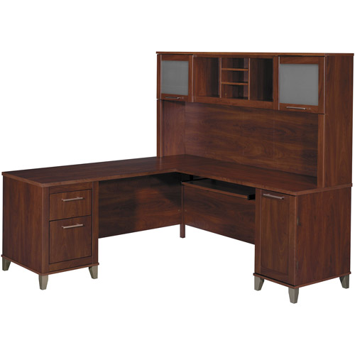 "Bush Somerset 71"" L-Shaped Computer Desk and Hutch Set, Multiple Finishes"
