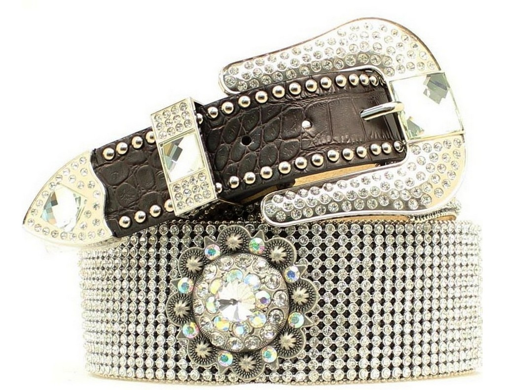 Nocona Womens Belt Leather Floral Embroidery Crystals Wide Brown N3415002