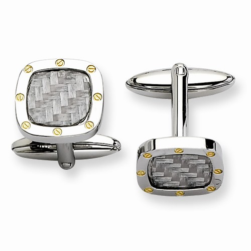 Stainless Steel Polished and Carbon Fiber w/ IPG Cuff Links
