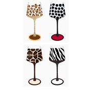 Cypress Home Hand-Painted Animal Print Wine Glass, 12 ounces, Set of 4