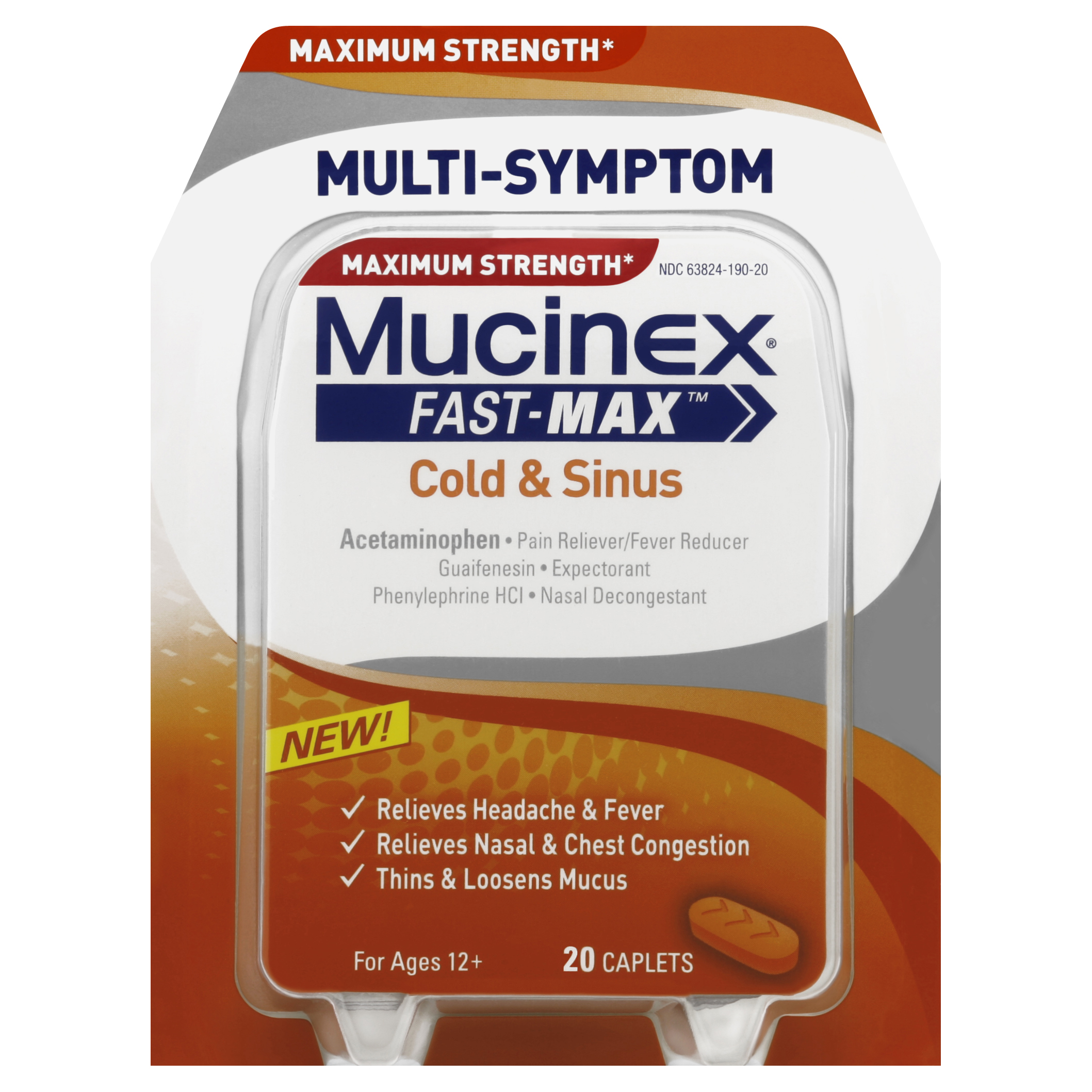 Mucinex Fast-Max Adult Cold and Sinus Caplets, 20 Count