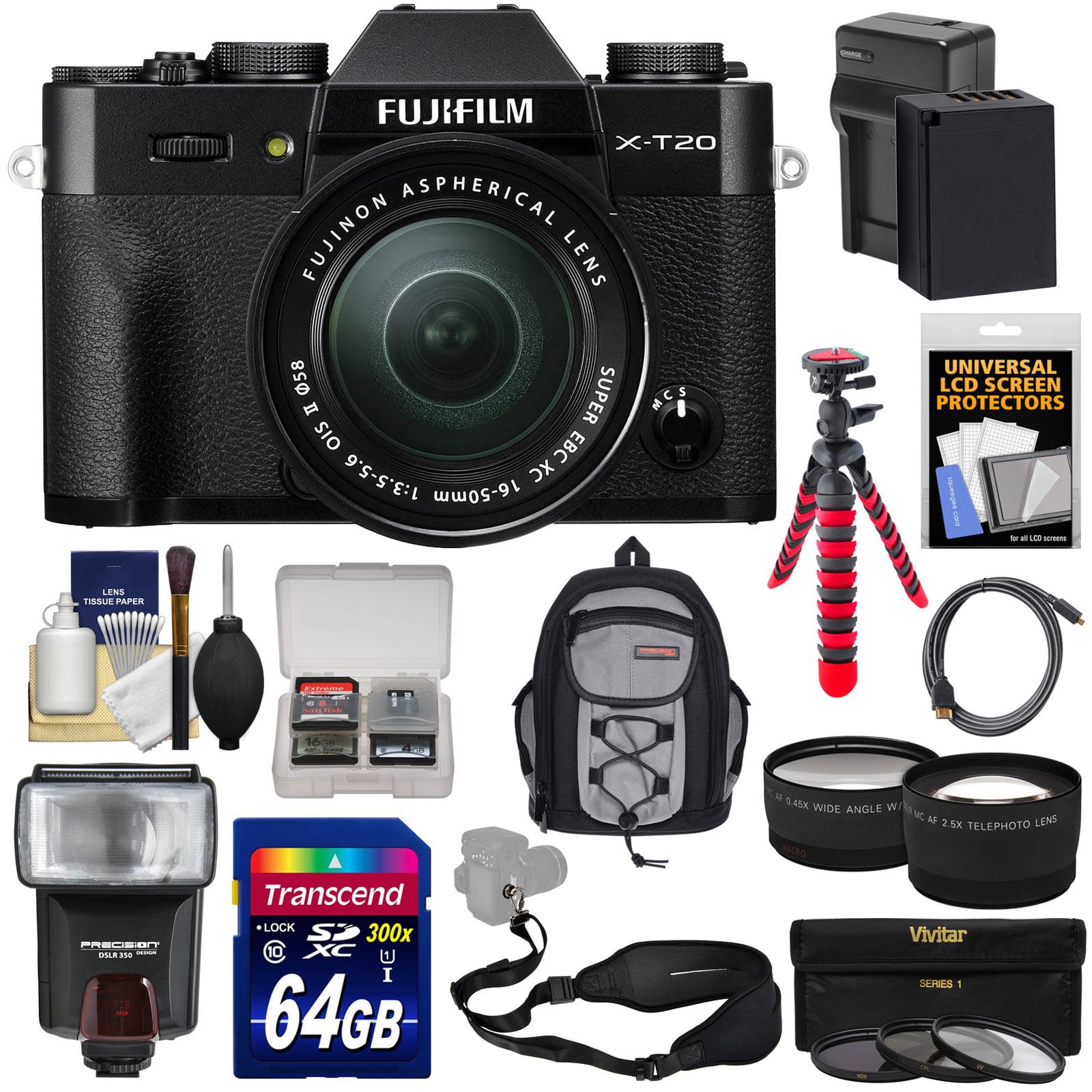 FujiFilm X-T20 Wi-Fi Digital Camera & 16-50mm XC Lens (Silver) with 64GB Card + Battery + Backpack + Flash + Flex Tripod... by Fujifilm
