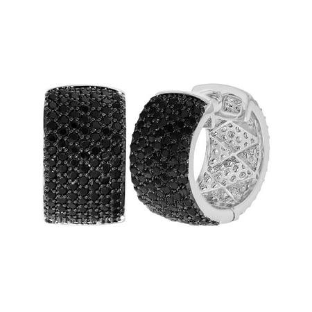 Rhodium Plated Micro Pave Black Crystal Huggie Hoop Woman Lady Earrings 18mm