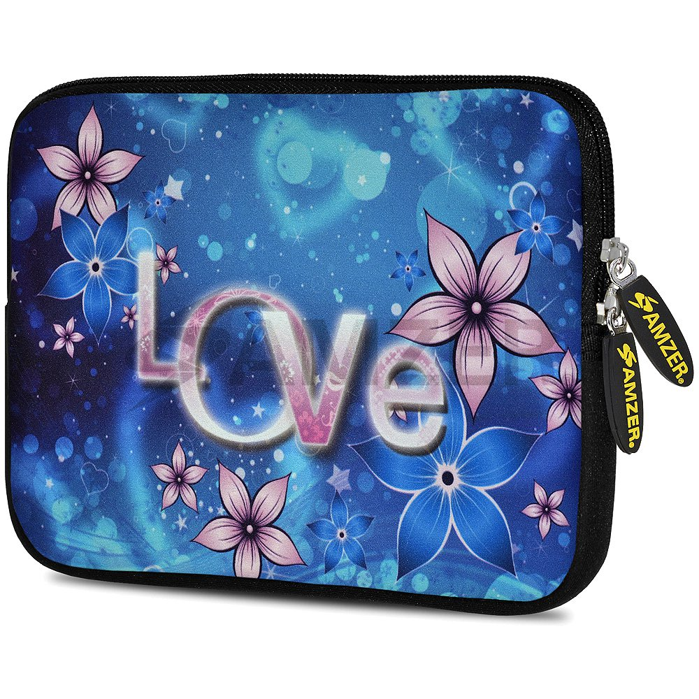 Universal 10.5 Inch Soft Neoprene Designer Sleeve Case Pouch for 10.5 Inch Tablet, eBook, Netbook - Peony Love Lasts