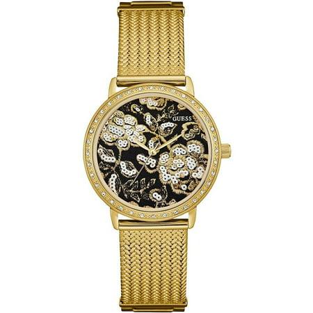 Women S Willow 35mm Gold Tone Steel Bracelet Case Quartz Black Dial Analog Watch W0822l2