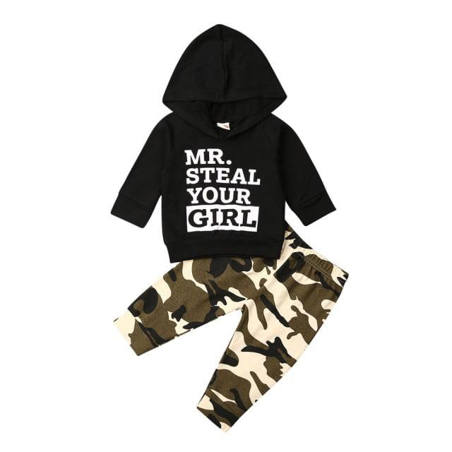 Toddler Baby Boy Girl Camouflage Long Sleeve Hoodie Top Sweatpants Pants Set