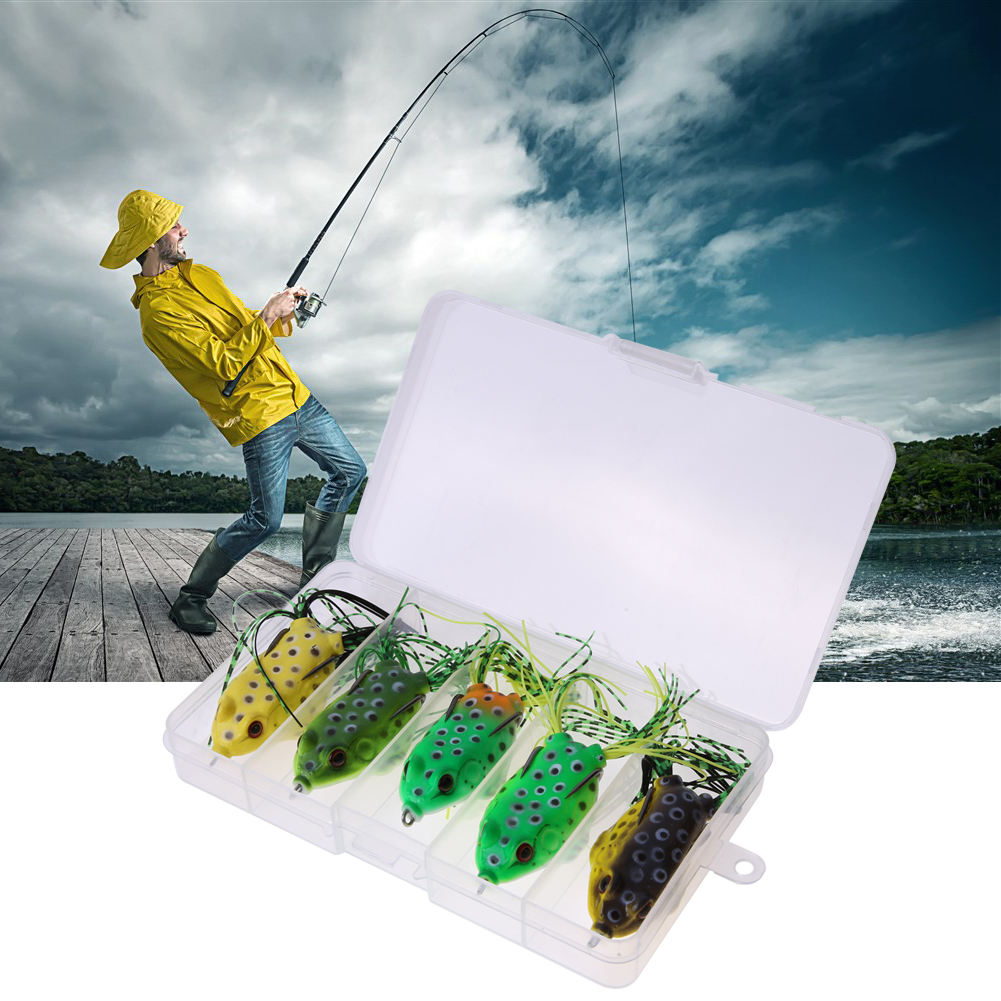 5Pcs Soft Plastic Fishing lures Frog lure Top Water 5.5CM 8G With Box by
