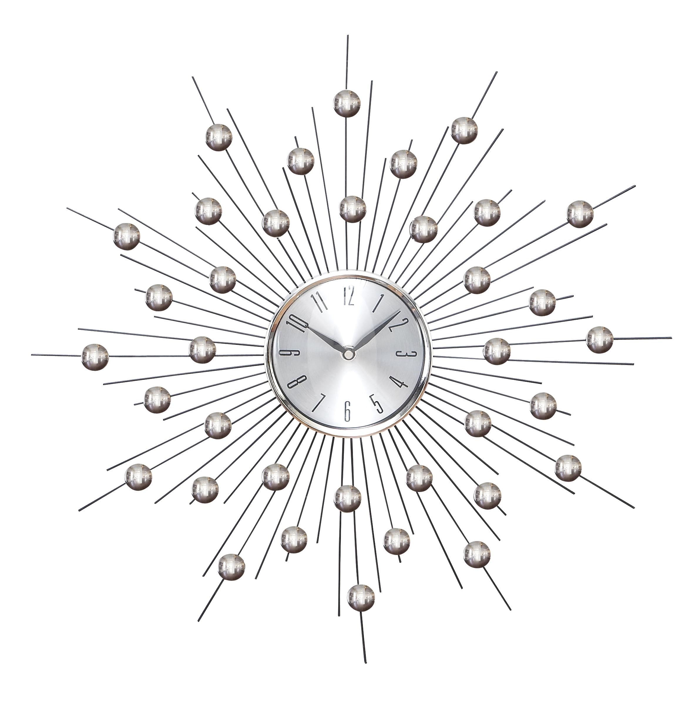 Metal Wall Clock Wall Clock Featuring Star Burst by Benzara