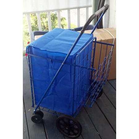 Folding Shopping Cart Double Basket Swivel Wheel Jumbo 360 Easy Rotation With Free Liner And Cargo Net By Scf  Blue With Blue Liner