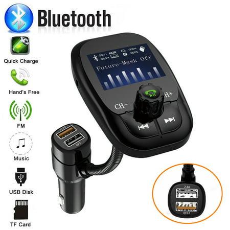 Huppin's Wireless Car FM Transmitter Wireless Radio Adapter QC3.0 USB Charger Mp3