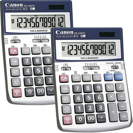 (2 Pack) Canon, CNMHS1200TS, HS-1200TS 12-Digit Angled Display Calculator, 1 Each, Black,White (Angled Calculator Stand)