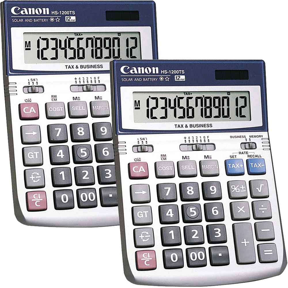 (2 Pack) Canon, CNMHS1200TS, HS-1200TS 12-Digit Angled Display Calculator, 1 Each, Black,White