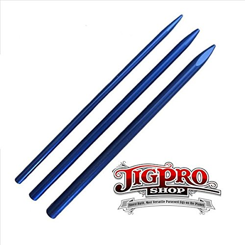 3 Different Size Blue Paracord Lacing Needles by Jig Pro Shop
