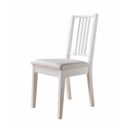 Lustrous Wooden Dining Chair With Solid Legs, White ()