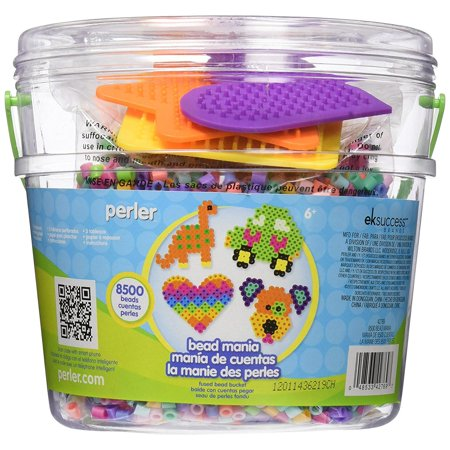 Perler Bead Bucket Jar: Contains an Assortment of 8500 Beads and 3 Pegboards