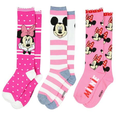 fb1954d7de8 UPD Inc - Disney Mickey Minnie Mouse Girls  Knee High Socks 3 Pack Size 6-8  - Walmart.com