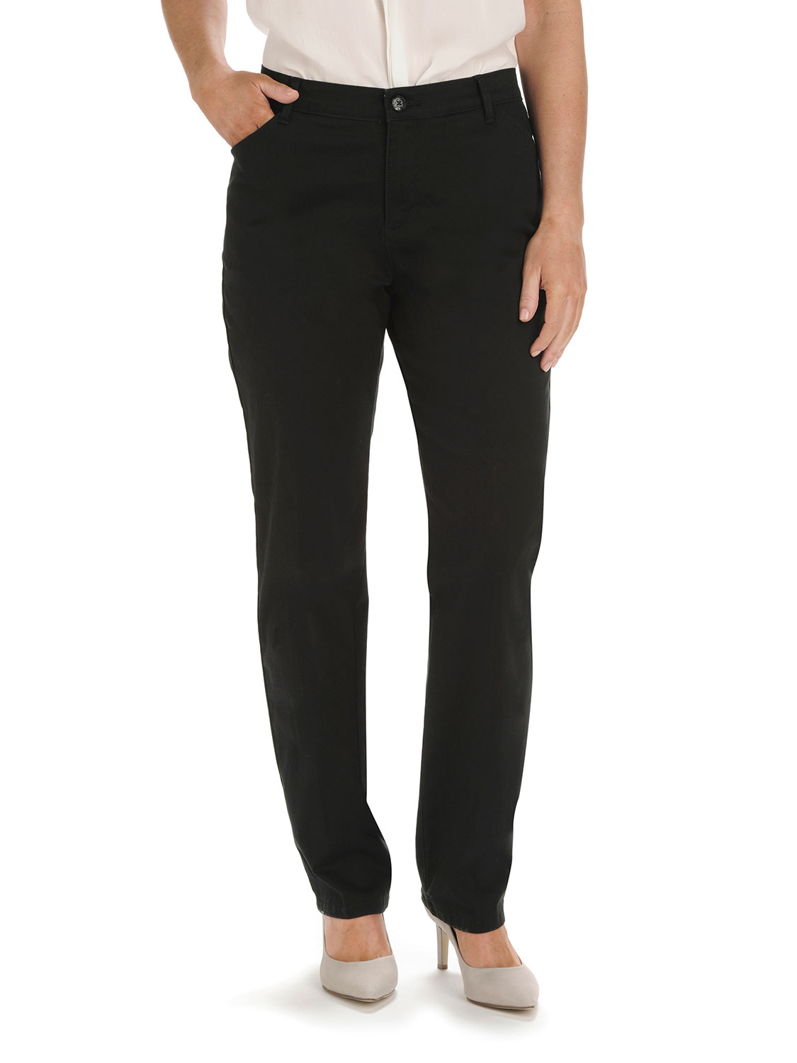 Lee Uniforms Womens Petite Relaxed Fit All Day Straight Leg Pant