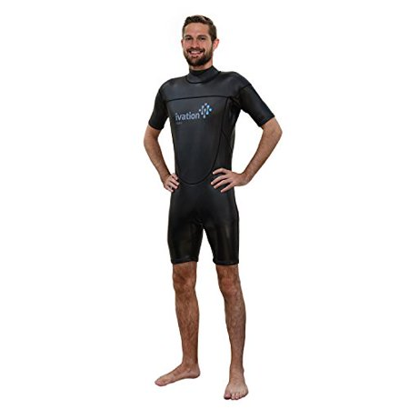 Ivation 3mm Wind-Resistant Short Wetsuit for Men  Crafted of Premium Flexible Neoprene with Flatlock Construction