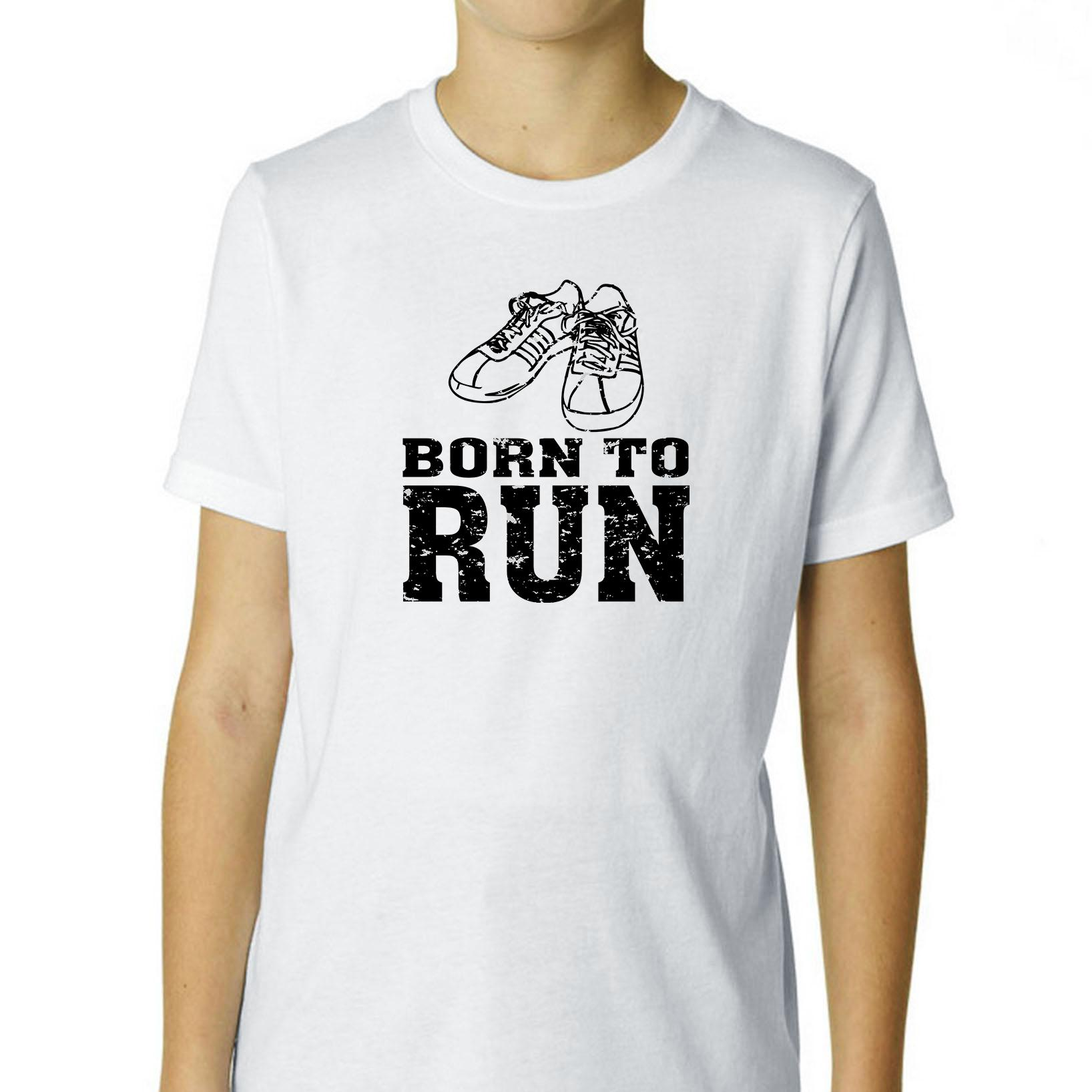 Born to Run - Old School Classic Running Shoes Boy's Cotton Youth T-Shirt