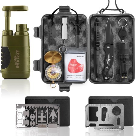 Wild Peak Prepare-1 Survival Tool Kit Bundle with Stay Alive-3 Outdoor Tactical 4-Stage Water Filter Emergency Pump and Multi-tool 22-in-1...