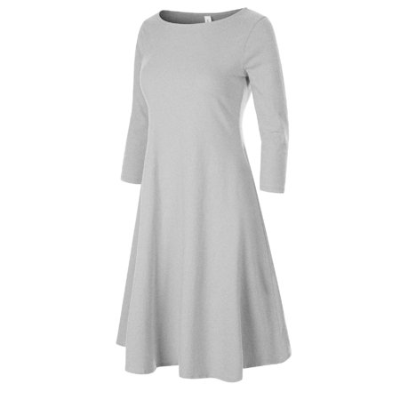 Made by Olivia Women's Classic 3/4 Sleeve Round Hem Swing Flared Tunic Dress with Side Pockets Heather Grey (Olivia Holt Dresses)
