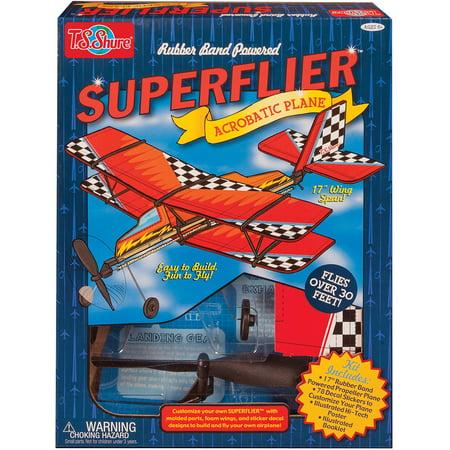 T.S. Shure Rubber Band Powered Super Flier Deluxe Acrobatic Plane Kit