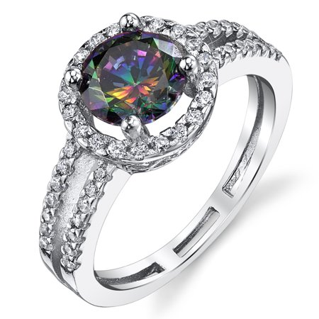 Round Cut Mystic Rainbow Simulated Topaz Halo Ring Sterling Silver with Cubic Zirconia Sizes 5 to 9