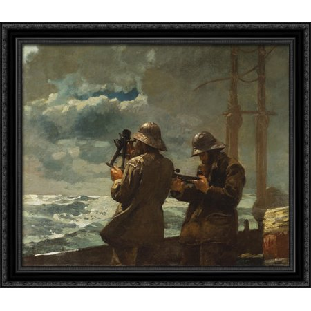 Eight Bells 32x28 Large Black Ornate Wood Framed Canvas Art by Winslow Homer Black Large Country Bell