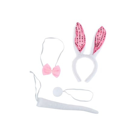 Lux Accessories White Pink Sequined Bunny Tail Ears Headband Bow Tie Costume - Bunny Ears And Tail