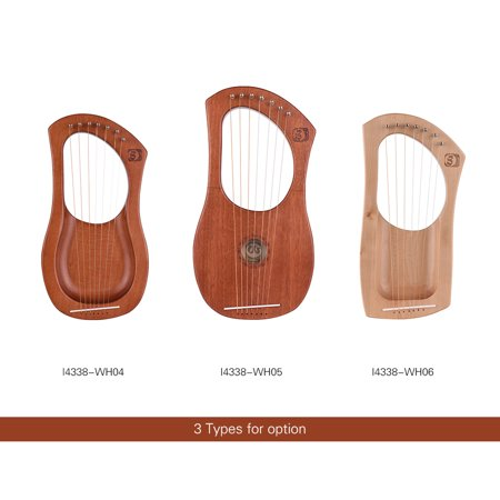 Walter.t 7-String Wooden Lyre Harp Metal Strings Mahogany Solid Wood String Instrument with Carry Bag WH04