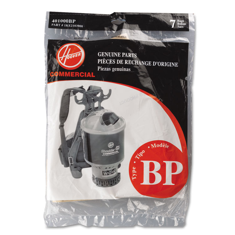 Hoover Disposable Paper Liner for Commercial Backpack Vacuum Cleaner, 7/Pack 401000BP