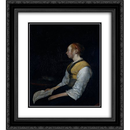 Gerard ter Borch 2x Matted 20x24 Black Ornate Framed Art Print 'Girl in Peasant Costume. Probably Gesina, the Painter's Half'Sister' for $<!---->