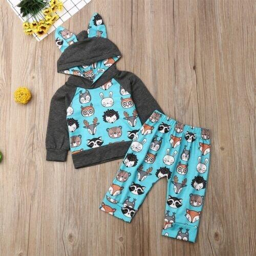 Newborn Baby Animal Cartoon Hooded Tops Long Pants Girls Boys Casual Outfits Set