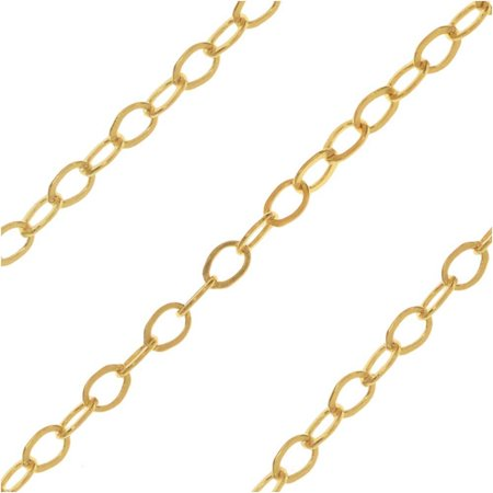 Bulk Cable Chain, Flat Oval Links 2x1.2mm, By the Foot, 14k Gold Filled - Necklace Chain Bulk