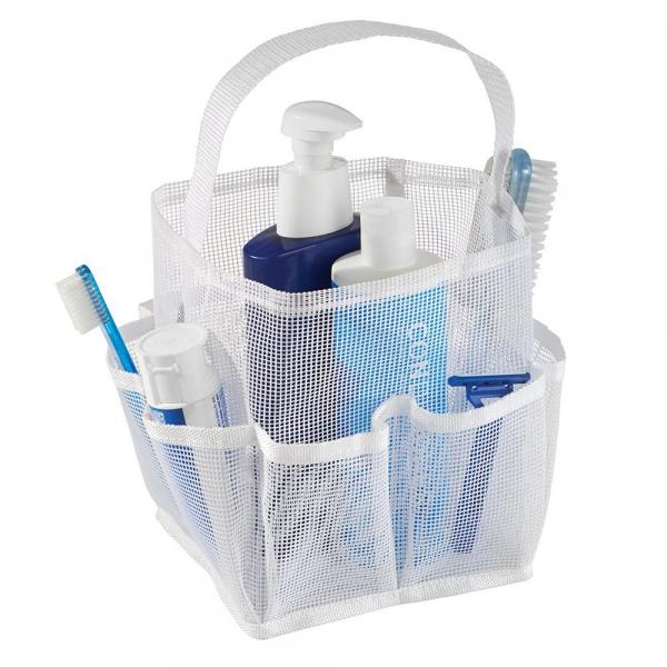 InterDesign Una Bathroom Shower Caddy Tote for Shampoo, Conditioner, Soap, Mesh, White by INTERDESIGN INC.