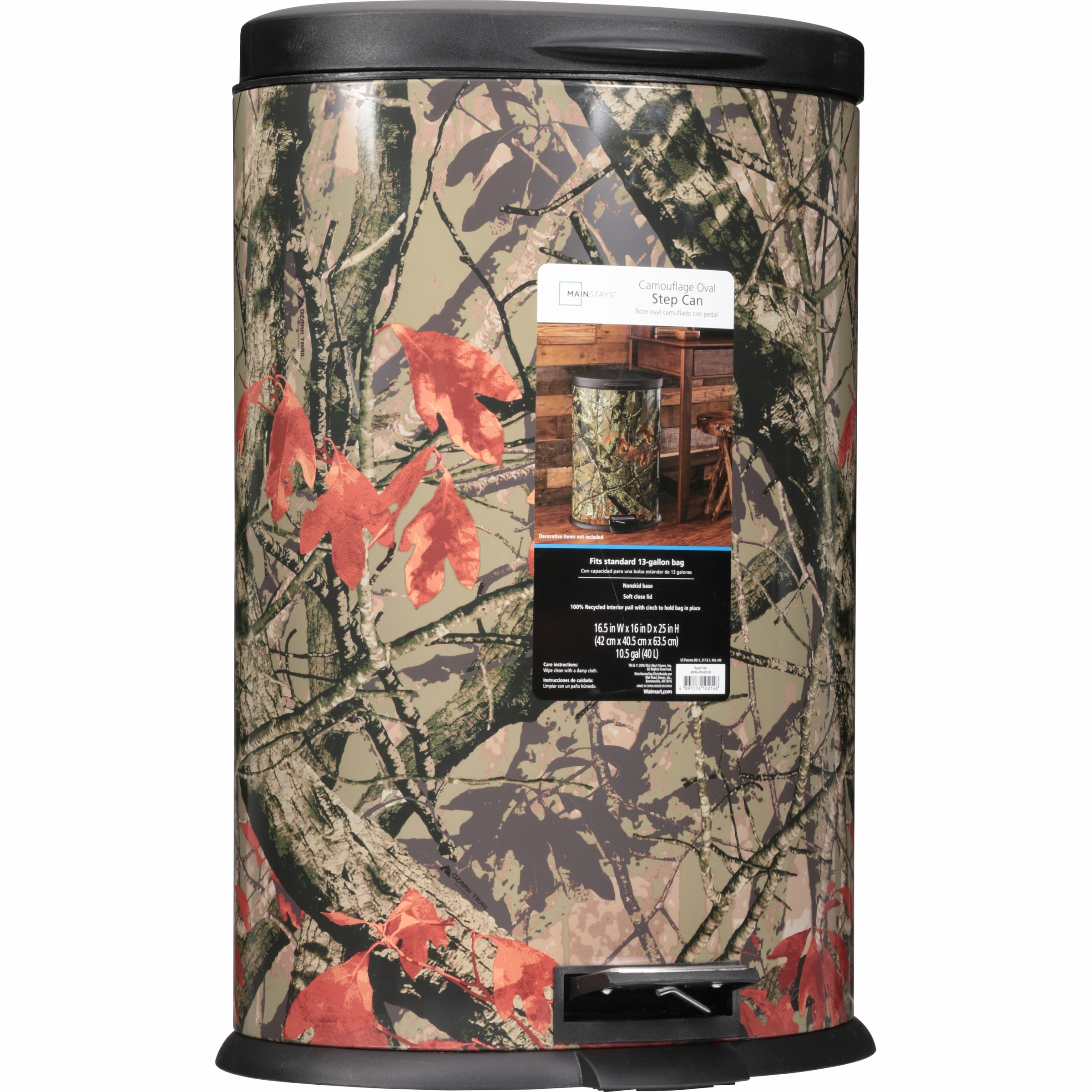 Mainstays 10.5 Gallon Oval Camo Waste Can