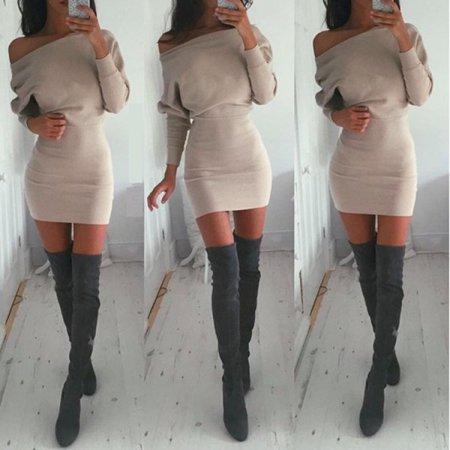 22ec9d41bdc Women Sweater Lady Bodycon Pullover Jumper Long Sleeve Knitted Pencil Mini  Dress - Walmart.com