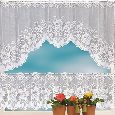 Lace Cafe Curtains (Iuhan 2PCS Lace Coffee Cafe Window Tier Curtain Set Kitchen Dining Room Home Decor Lot)