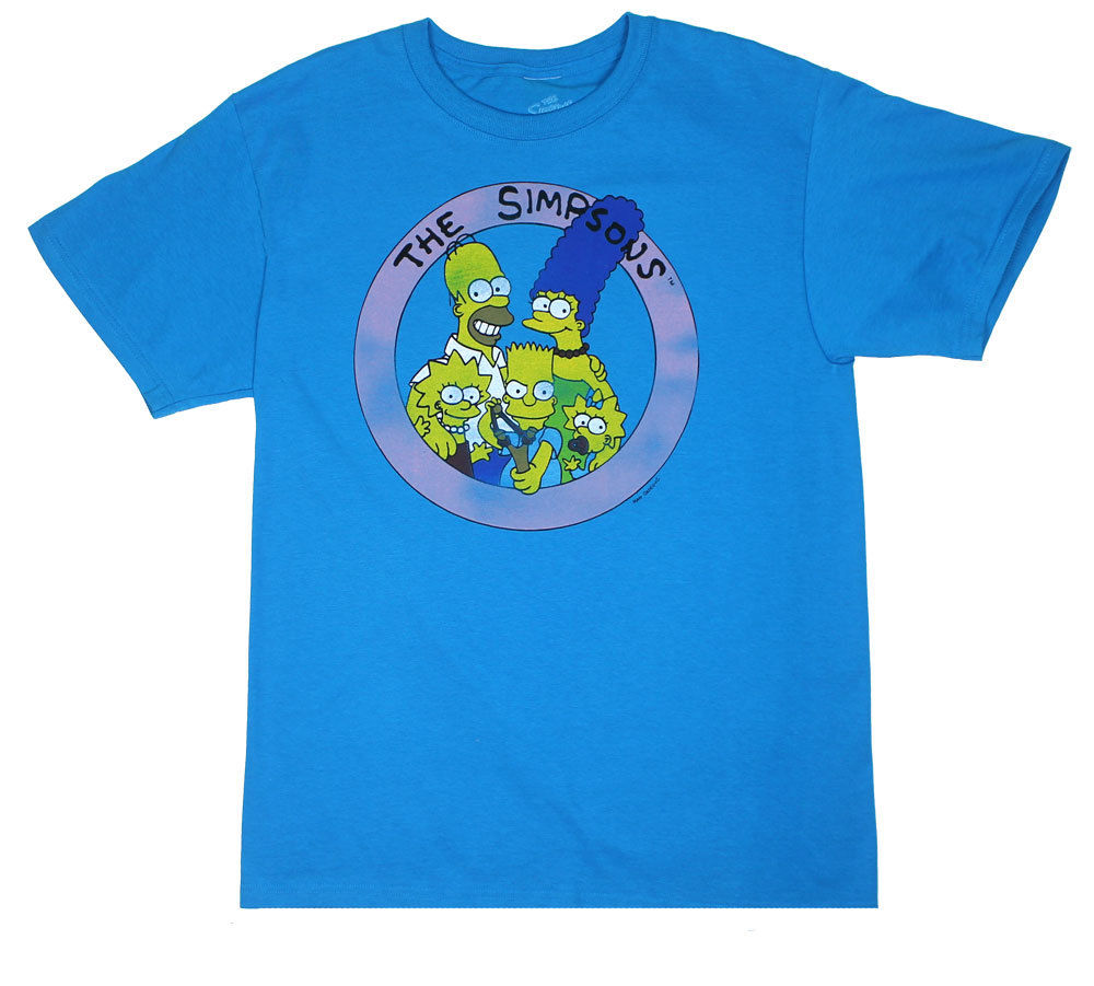 The Simpsons Family Men's Sky Blue Shirt
