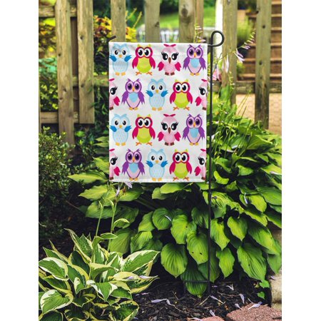 JSDART Colorful Cartoon Funny Owls Pattern on Happy and Joyful Garden Flag Decorative Flag House Banner 28x40 inch - image 2 of 2