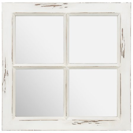Gallery Solutions Distressed White Rustic Framed Window Pane Wall Accent Mirror 22