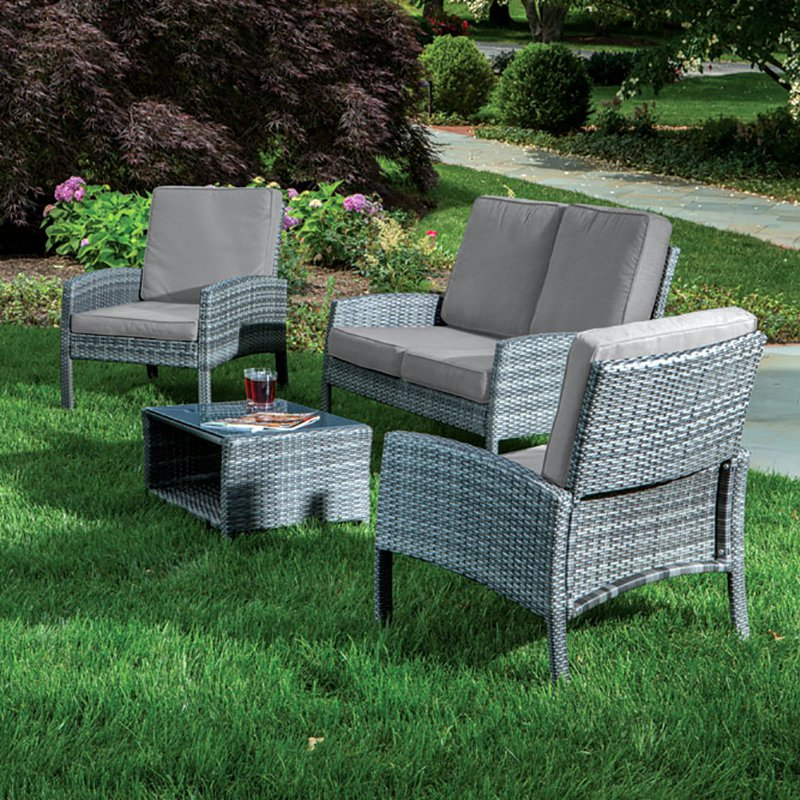 Alfresco Grand Cayman 4 Piece All Weather Wicker Conversa...