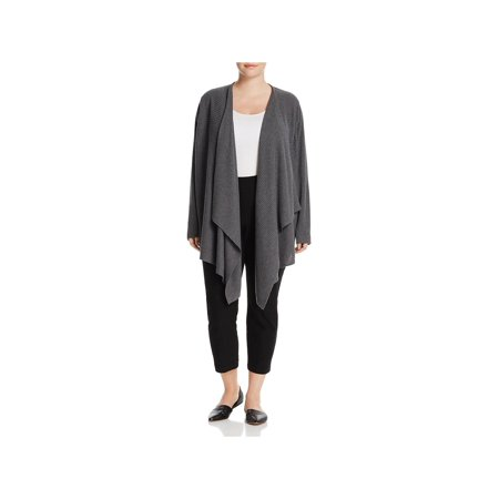 Eileen Fisher Womens Plus Wool Angle Front Cardigan Top Gray