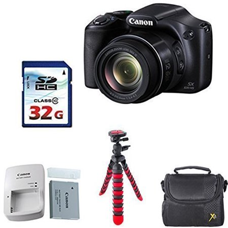 Canon Powershot SX530 HS 16.0 MP Digital Camera with 50x Optical Zoom and 1080p Full HD Bundle with 32GB High Speed Memory Card + Deluxe Backpack + Professional