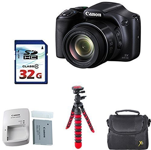 Canon Powershot SX530 HS 16.0 MP Digital Camera with 50x Optical Zoom and 1080p Full HD Bundle with 32GB High Speed Memory Card + Deluxe Backpack + Professional Tripod