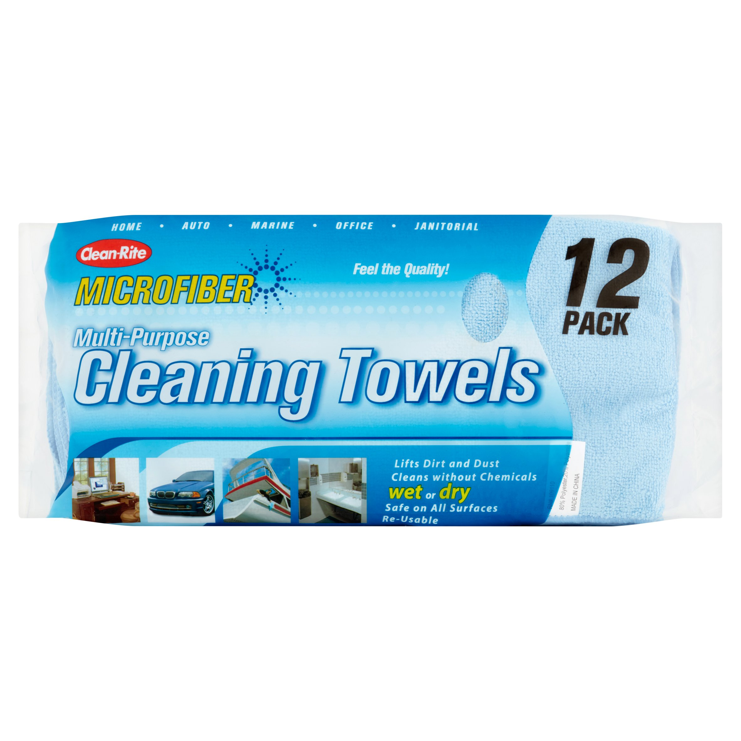 Clean-Rite 3-512 Microfiber Cleaning Cloths, 12pk