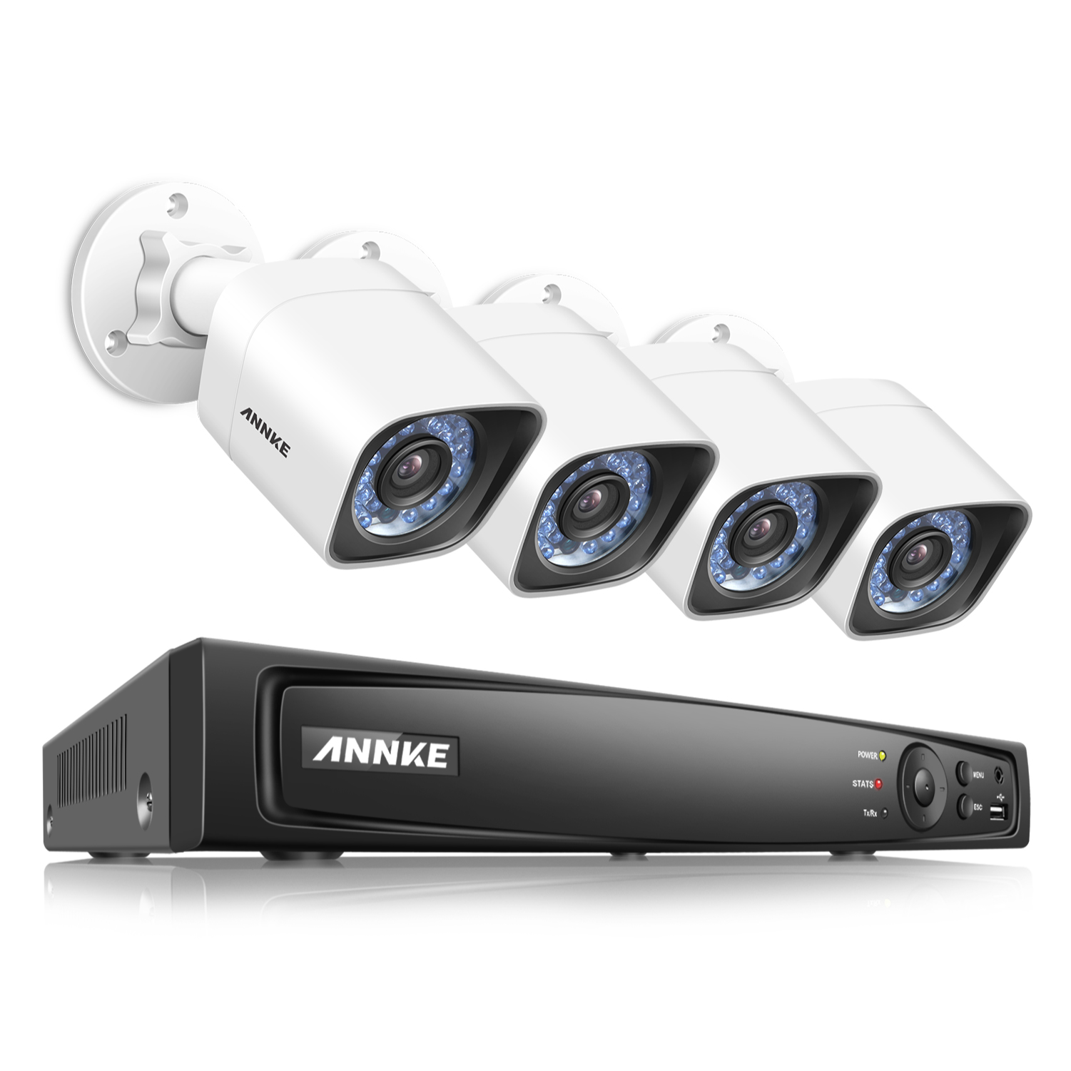 ANNKE 1080P POE NVR Home Surveillance Security System 4CH 2MP/3MP/4MP/5MP/6MP Network Video Recorder and (4) HD 1920TVL IP Cameras No Hard Drive Disk